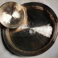 Handicraft Bell Metal Single Mayur Crafted Plain Plate/Disc (Kahi) with Bowl (Bati)