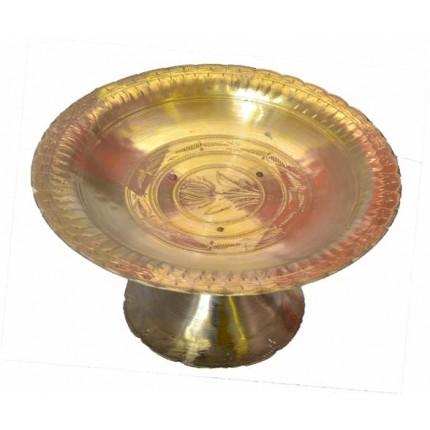 Handicraft Kansa/Bell Metal Plate/Dish with Stand (Charas Baan Kahi) - 1.5Kg